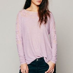 "Free People New Romantics ""Jilly"" Lilac Mesh Top"